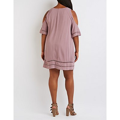 Plus Size Crochet-Inset Cold Shoulder Shift Dress