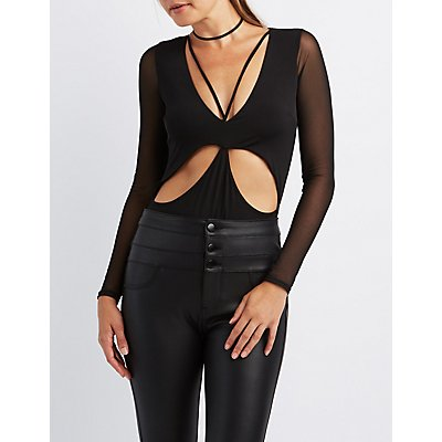 Cut-Out Mesh-Sleeve Bodysuit