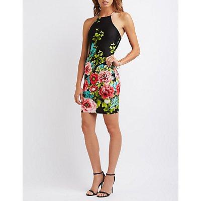 Floral Bib Neck Bodycon Dress