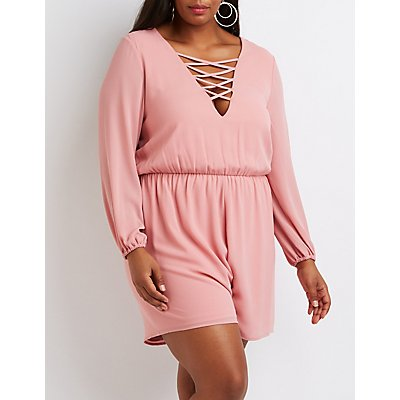 Plus Size Lattice-Front Romper