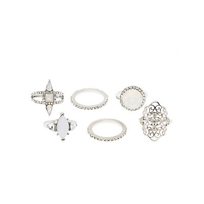 Faceted Stone & Filigree Rings - 6 Pack