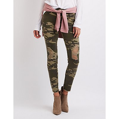 Camo Destroyed Skinny Jeans