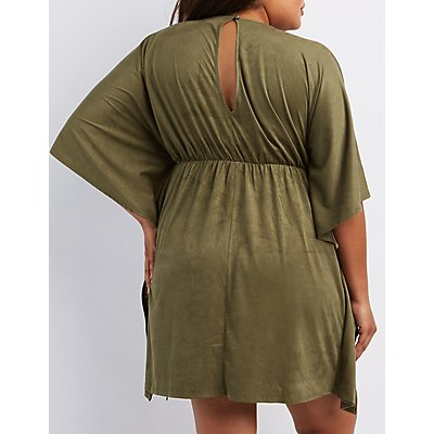 Plus Size Faux Suede Kaftan Dress