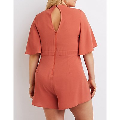 Plus Size Cut-Out Mock Neck Romper
