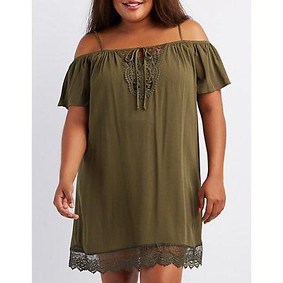 Plus Size Crochet-Trim Cold Shoulder Shift Dress