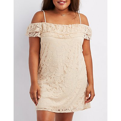 Plus Size Lace Cold Shoulder Dress