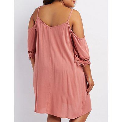 Plus Size Caged & Crochet Cold Shoulder Dress