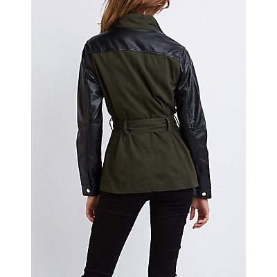 Faux Leather-Trim Belted Anorak Jacket