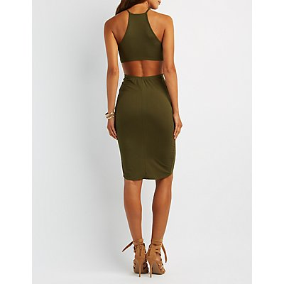 Knotted Bodycon Keyhole Dress