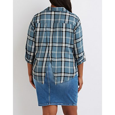 Plus Size Flyaway Plaid Button-Up Shirt