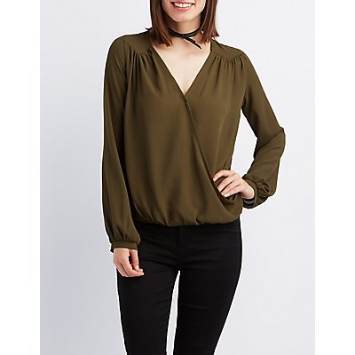 Wrapped Surplice Blouse