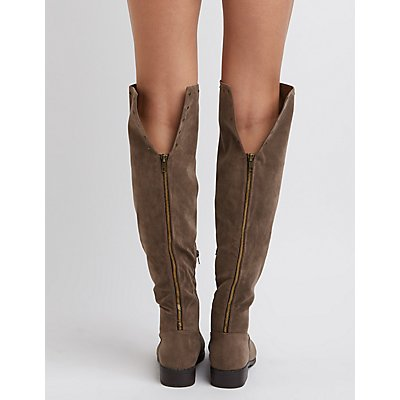 Faux Suede Studded Tall Boots