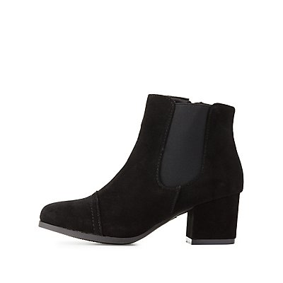 Side Gore Block Heel Ankle Booties