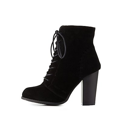 Whipstitch Lace-Up Ankle Booties