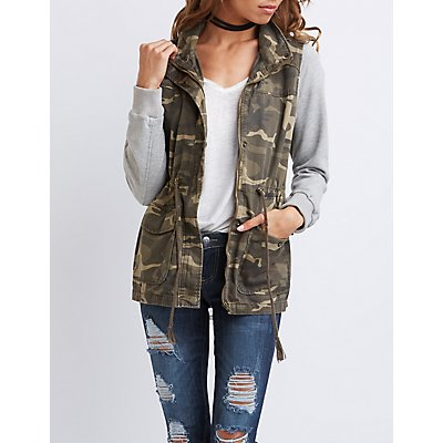 Camo Knit Sleeves Anorak Jacket