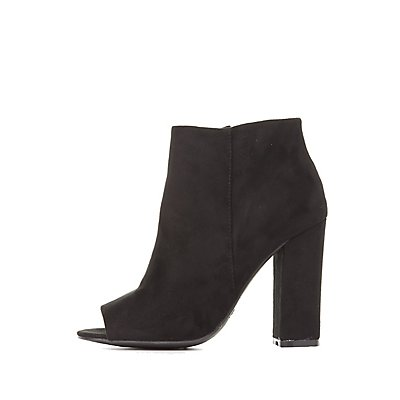 Bamboo Faux Suede Peep Toe Ankle Booties