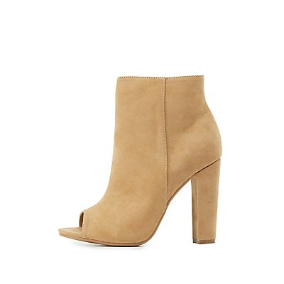 Faux Suede Peep Toe Ankle Booties