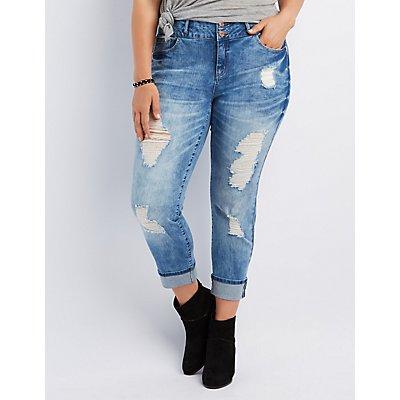 Plus Size Refuge Crop Boyfriend Jeans