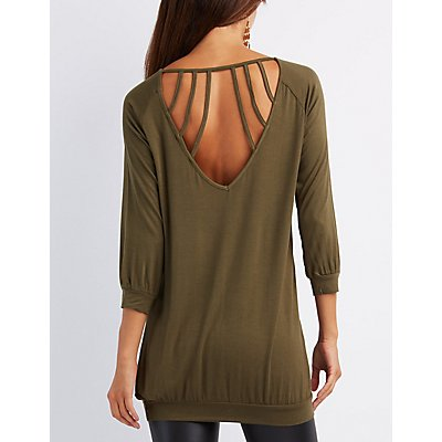 Caged-Back Tunic Top