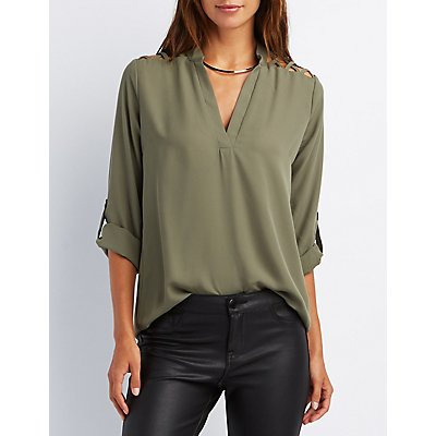 Caged Split Collar Blouse