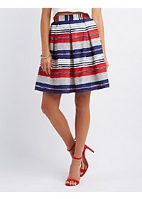 Striped Full Midi Skirt