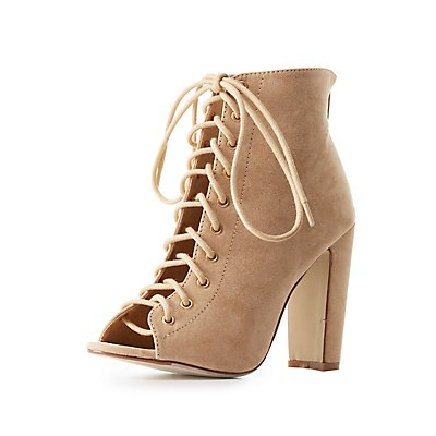 Lace-Up Peep Toe Ankle Booties