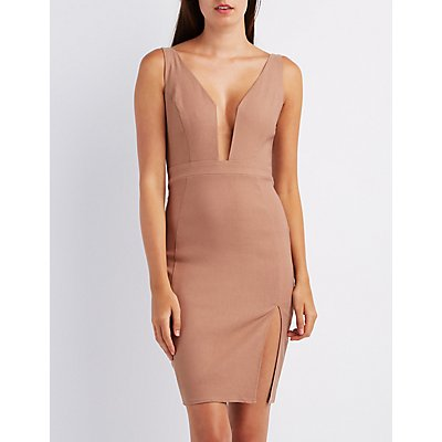 Plunging Bodycon Dress