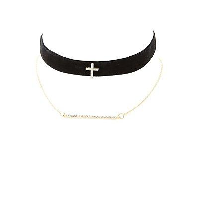 Embellished Chainlink & Velvet Choker Necklaces - 2 Pack