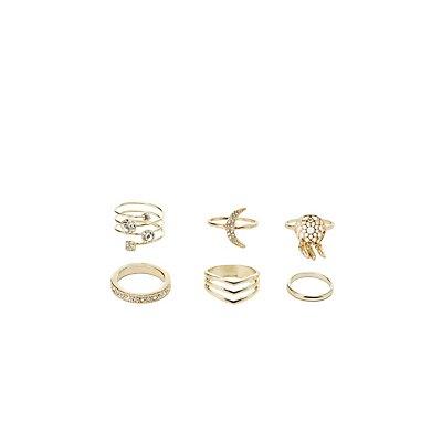 Rhinestone Embellished Stackable Rings - 6 Pack
