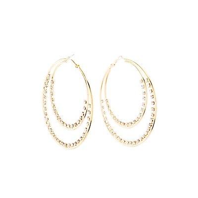 Rhinestone Double Hoop Earrings