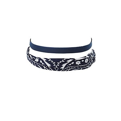 Bandana & Velvet Choker Necklaces - 2 Pack