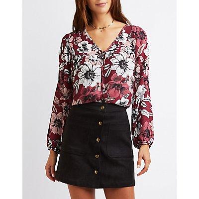 Floral Cold Shoulder Button-Up Blouse