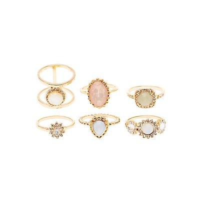 Faceted Gemstone Rings - 6 Pack