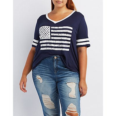Plus Size American Flag Graphic Ringer Tee
