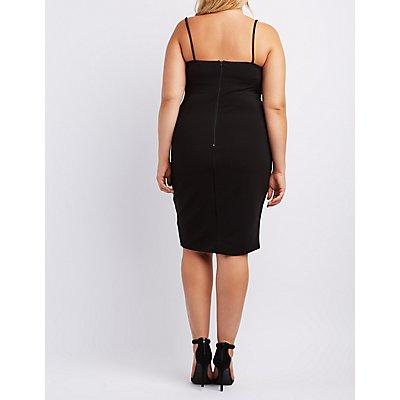 Plus Size Lace-Trim Textured Dress