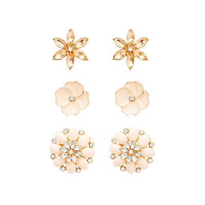 Flower Stud Earrings - 3 Pack