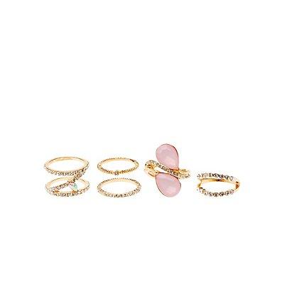 Gemstone & Rhinestone Rings - 5 Pack