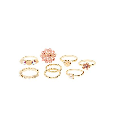 Embellished Flower Rings - 8 Pack