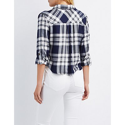 Cropped Plaid Button-Up Shirt