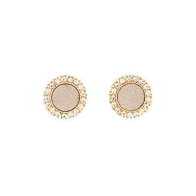 Glittery Circle Stud Earrings