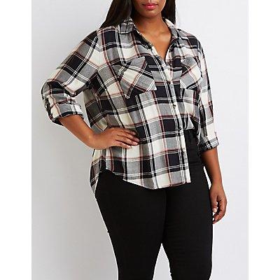 Plus Size Flyaway Plaid Button-Up Shirt