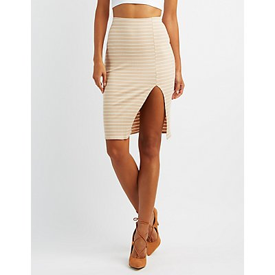 Ribbed Slit Pencil Skirt