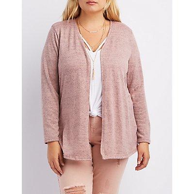 Plus Size Marled Longline Cardigan