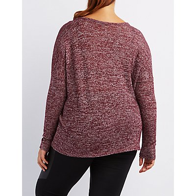 Plus Size Marled V-Neck Sweater