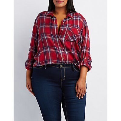 Plus Size Plaid Button-Up Top