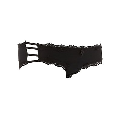 Lace-Trim Caged Cheeky Panties