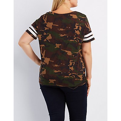 Plus Size Camo Football Tee