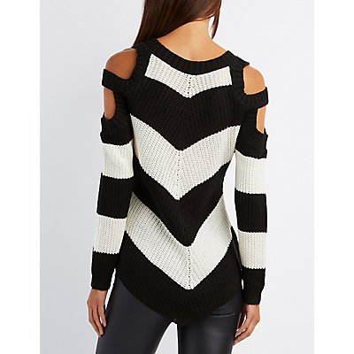 Chevron Cold Shoulder Sweater