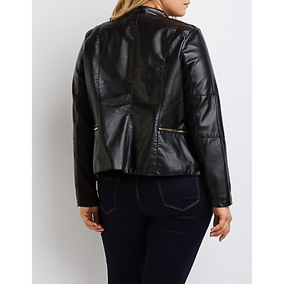 Plus Size Faux Leather Open Jacket