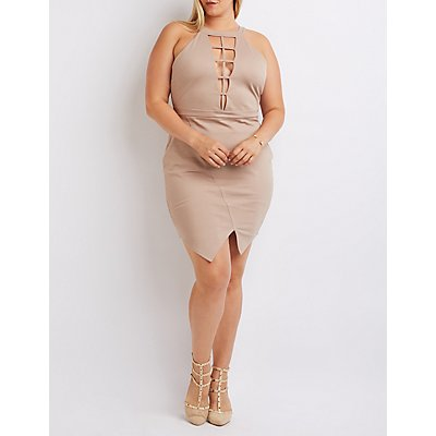 Plus Size Plunging Caged Bodycon Dress